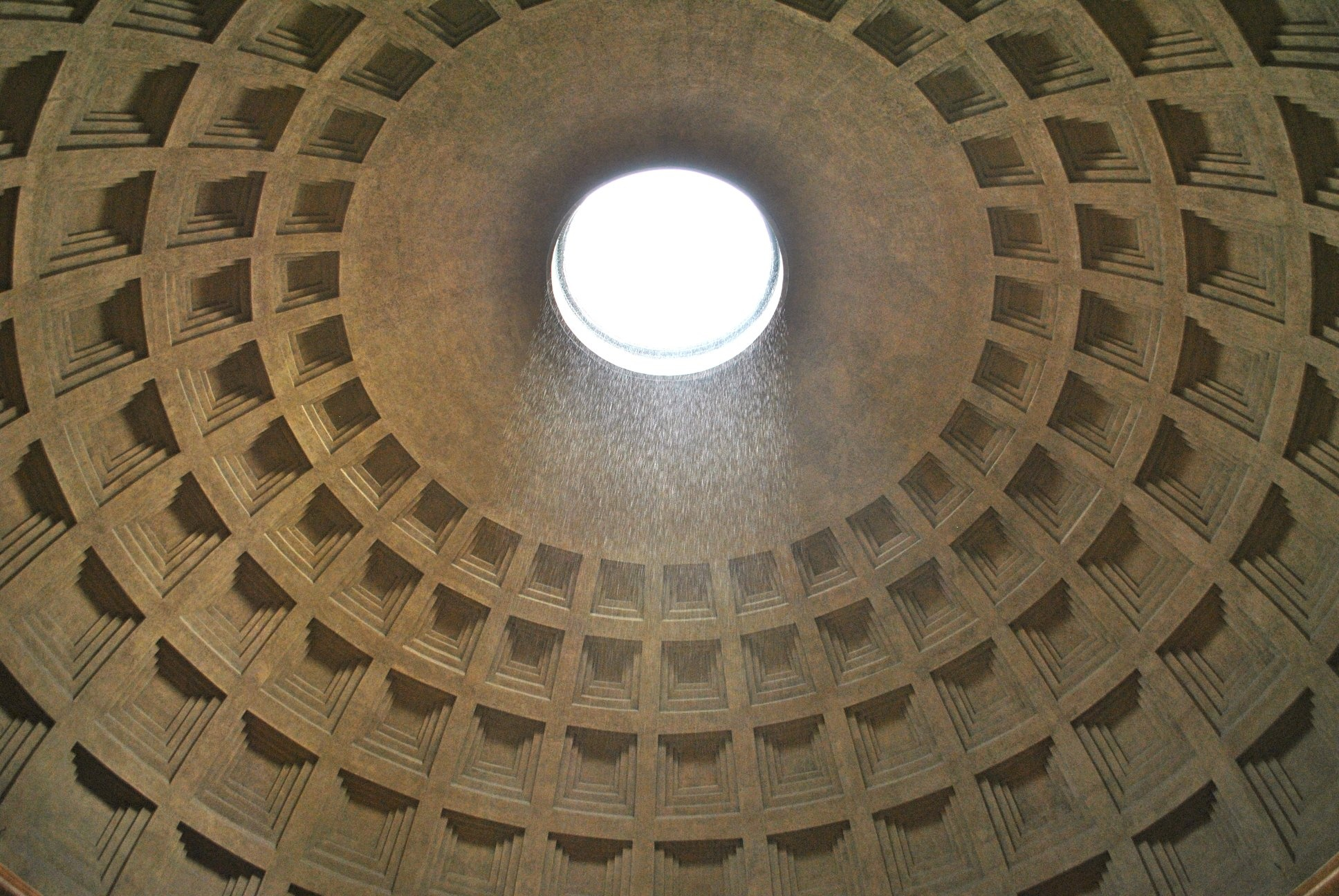 Is the oculus of the Pantheon covered in a very big circular