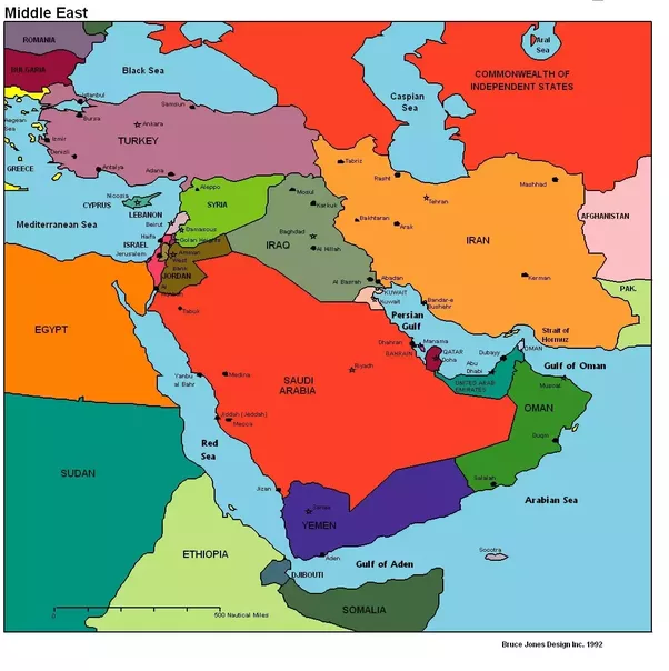 What are the countries that constitute Asia minor middle east and