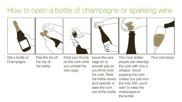 Imagini pentru how to open a bottle of champagne""