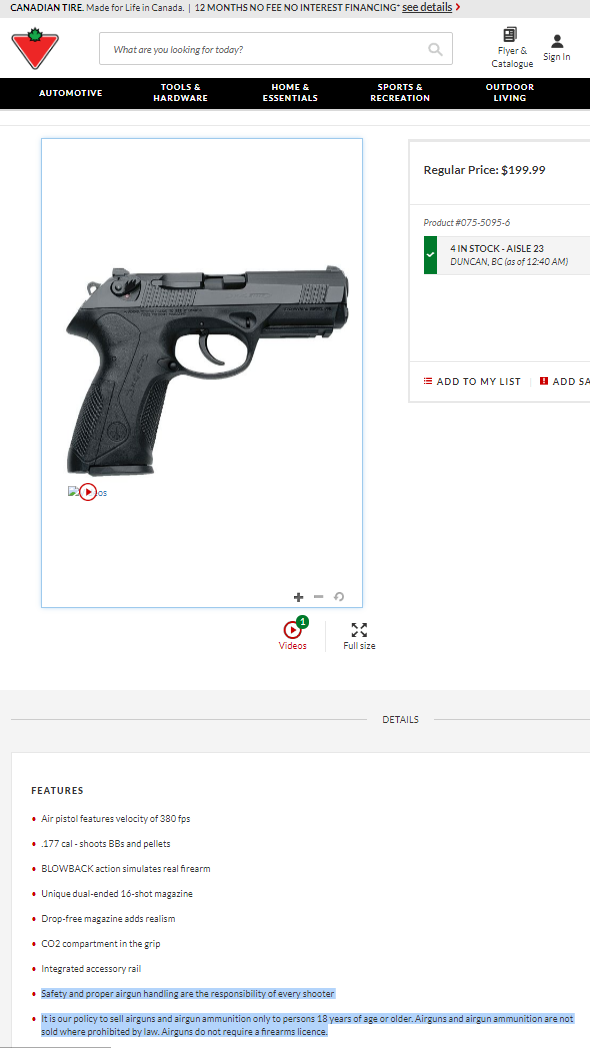 Are pellet guns considered a firearm in Canada? I say yes and bet on