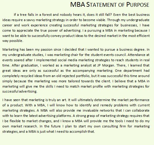 statement of purpose for mba freshers