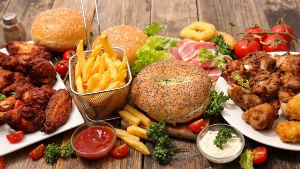 healthy diet and eating food from outside