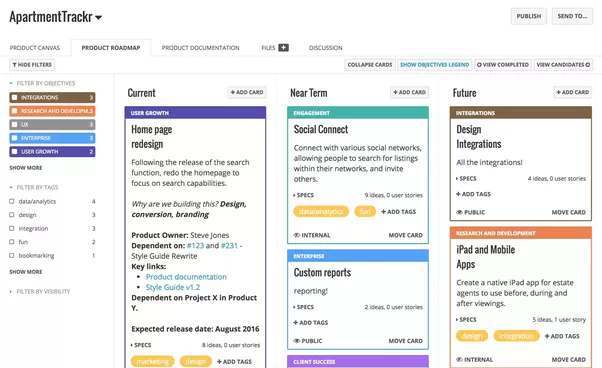 and heres a screenshot of the product roadmap creation screen