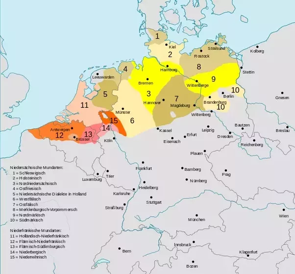 reddish means low franconian dialects dutch flemish the grey parts in the north of the netherlands and germany are frisian language areas