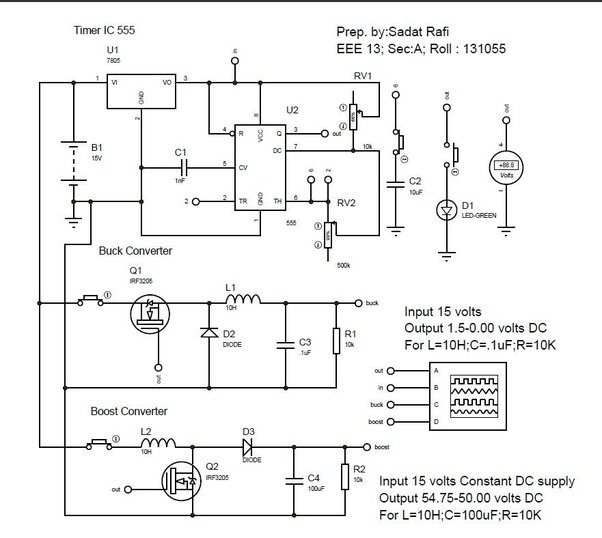 What is the working principle of each component and the circuit the lower portion of the circuit diagram marked as boost converter steeped up 15 volt to 56 volt same circuit will give you any steeped up dc voltage cheapraybanclubmaster Gallery