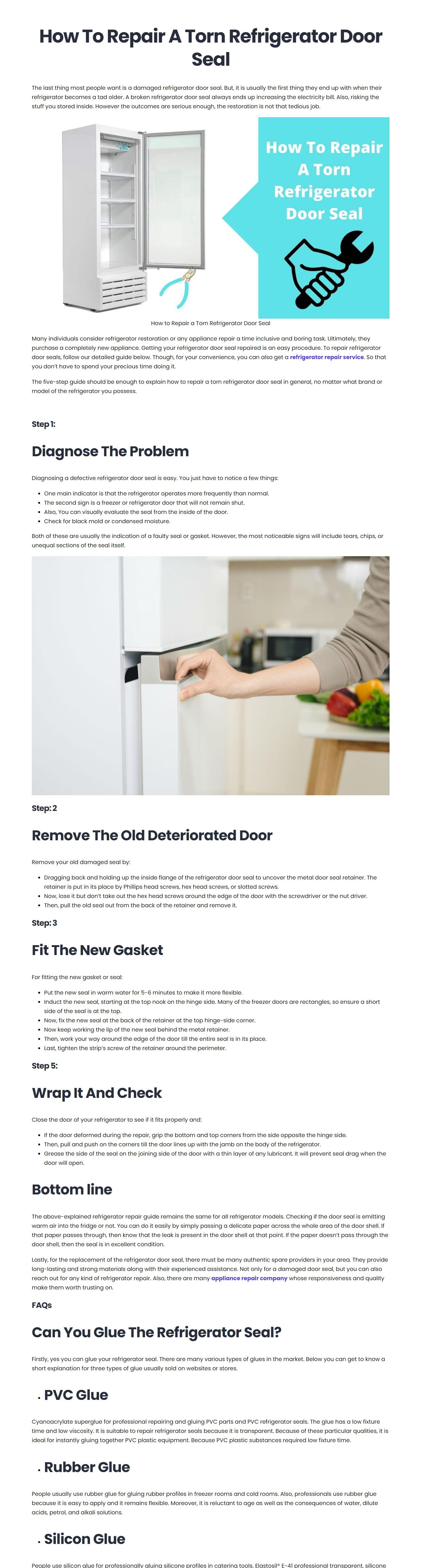 How to repair a torn refrigerator door seal - Quora