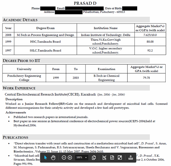 Can IITians share their resume? How did you prepare your resume ...
