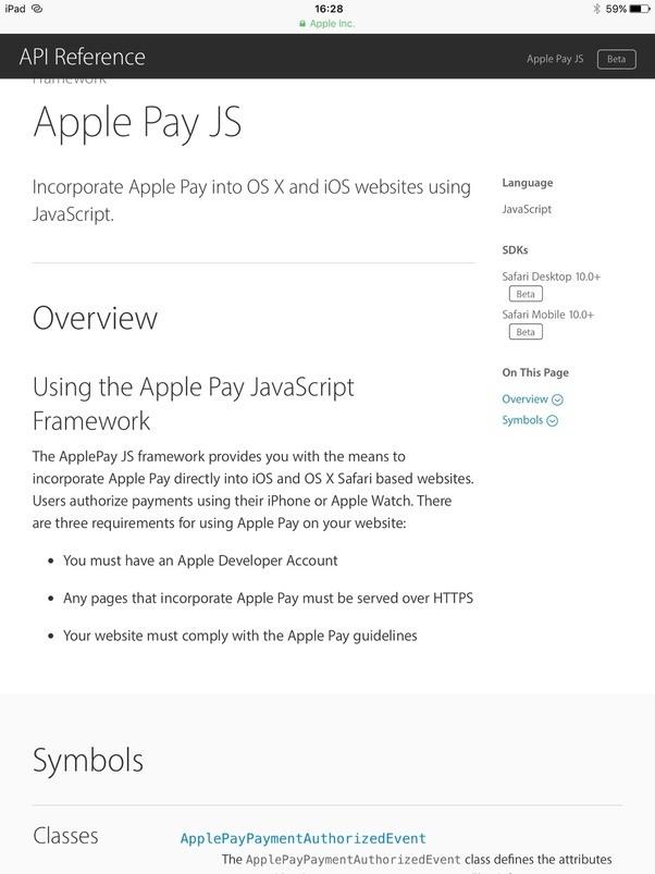Existe-t-il une API Web pour Apple Pay?