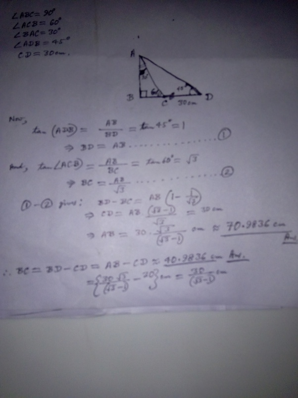 In Triangle ABC, Angle A=90°, Angle B=30°, BC=8cm. Find The Length Of Side  AB And AC? - Quora