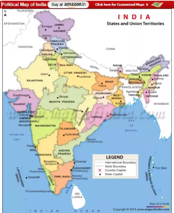 Where Can I Find A Map Of India That Has All Types Of Information Like  Rivers, Borders, Mountains, Capitals, Etc.?   Quora