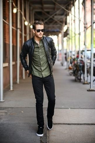 bee3398f80e10f Olive Long Sleeve Shirt combination  An army green long sleeve shirt and  black jeans feel perfectly suited for weekend activities of all kinds.