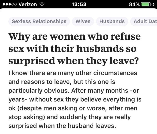 Why do wife quit having sex