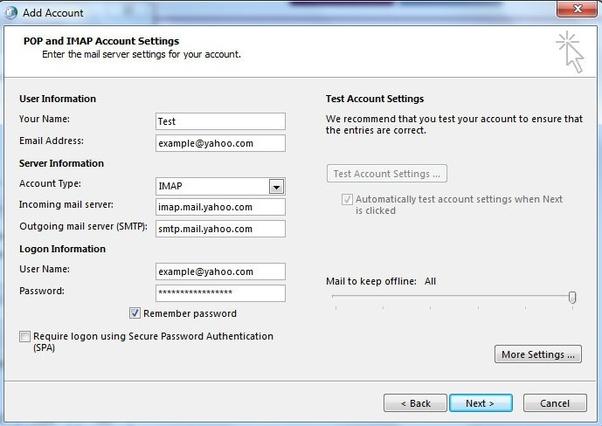 yahoo outgoing mail server mac imap