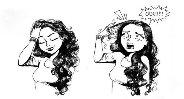 When my fingers get stuck in my hair .