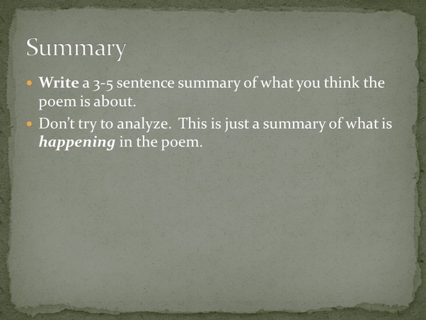 how to write a summary of a poem