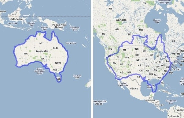 how does the size of australia compare to the size of america quora