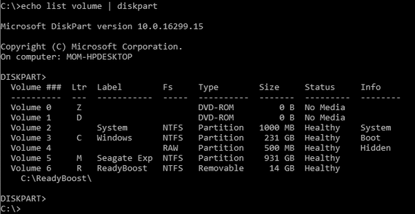 How to see a list of valid drive letters from the Windows 10 command