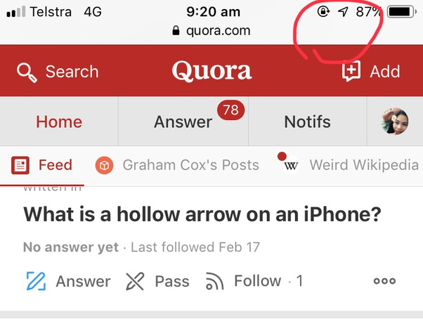 What Is A Hollow Arrow On An Iphone Quora