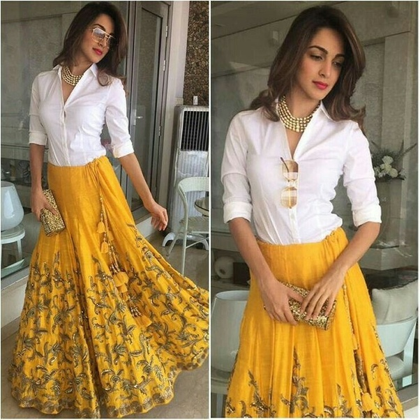 0f1aa4d48c The latest trend in ethnic fashion is palazzo pants with kurtis of varying  length and styles- short kurtis, kameez, long kurtis with slits, anarkalis,  etc.