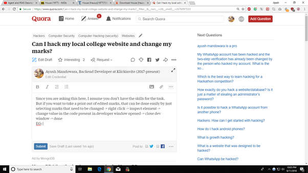 Can I hack my local college website and change my marks? - Quora