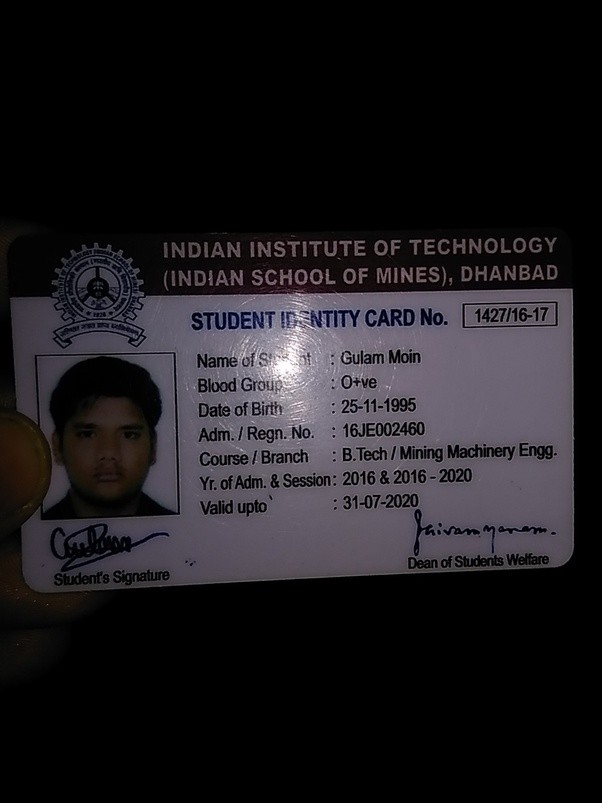 what does the iit ism dhanbad student id card look like quora