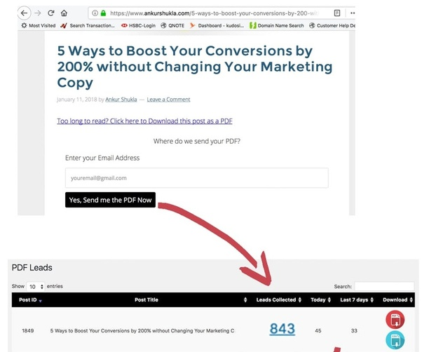 How to give a downloadable pdf in exchange for an Email address on a
