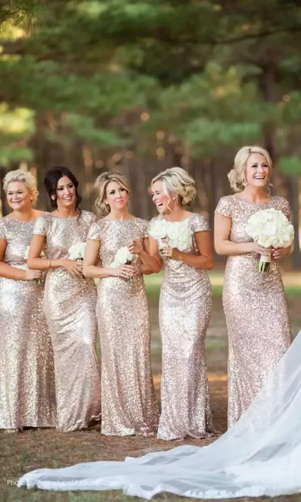 Sequine Cap Sleeves Long Sheath Bridesmaid Dress Ksp476