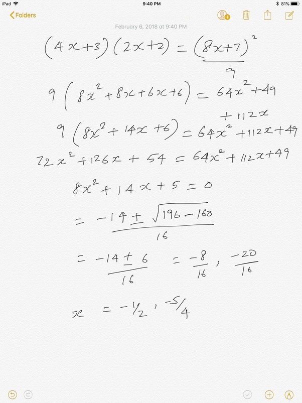 How to solve this math problem, (4x + 3) * (2x + 2) = 9 / (8x + 7 ...