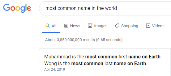What is the most popular name in the world? - Quora