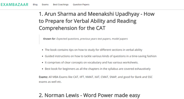 What Is The Best Book For Verbal Ability For The Cat Quora