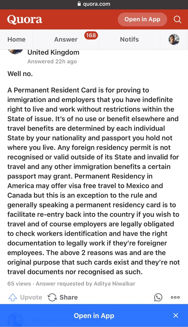 Can I Visit The Uk On My Long Term Eu Permanent Resident Permit Without A Visa Quora