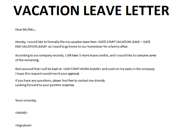 How To Write A Letter Of Leave For A Vacation Quora
