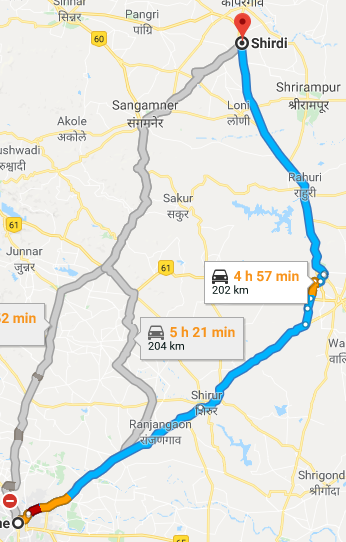 Pune To Shirdi Road Map What is the route from Pune to Shirdi by road?   Quora
