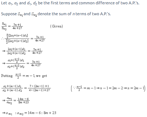If the ratio of the sum of the first n terms of two APs is (7n+1