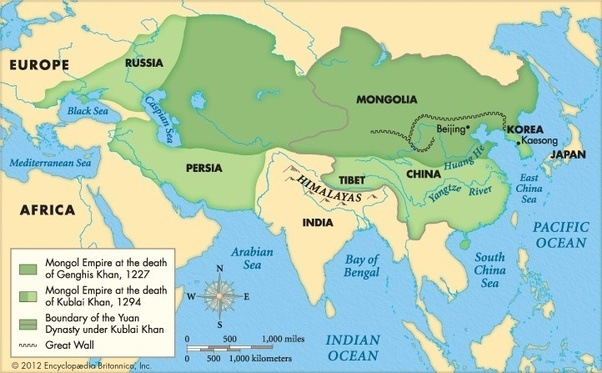 If the Mongol Empire reunited [OC] [1882x735] : MapPorn   Mongol Conquest Land