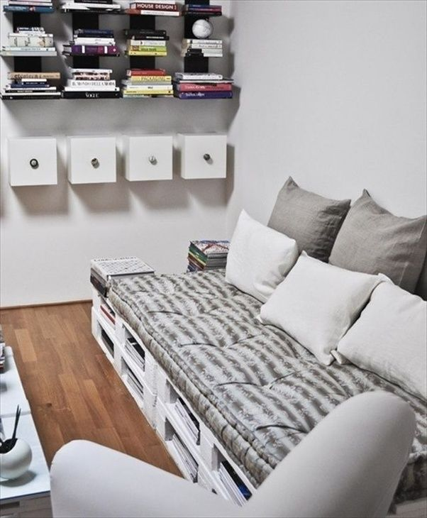 People have done some very creative things with wooden shipping pallets. All you really need to add are cushions for a sofa. : homemade-couches - designwebi.com