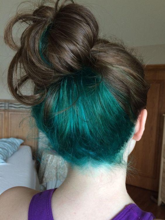 Brown Hair With Turquoise Underneath