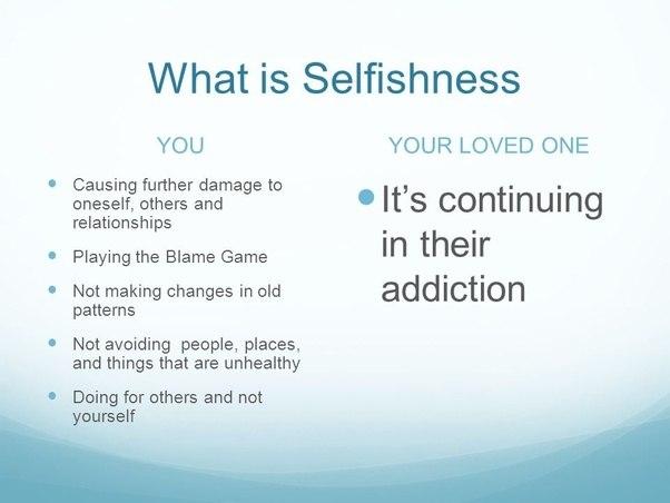Selfish behaviour in relationships