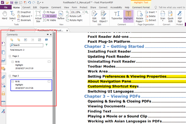 How to find a highlighted text in an Adobe Reader or PDF