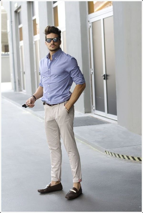 What colour pants will go well with a light blue shirt for for Beige pants what color shirt