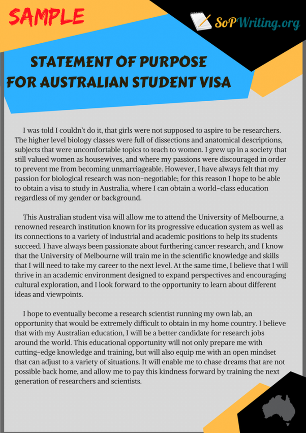 How to write in SOP for an Australian student visa? Why have you not