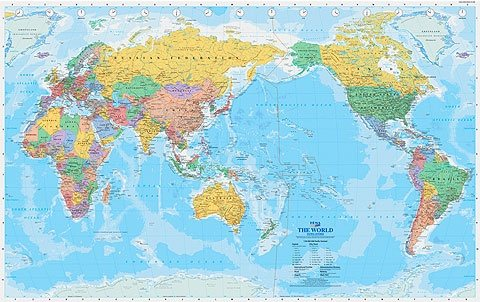 this is a typical world map used in australian schools
