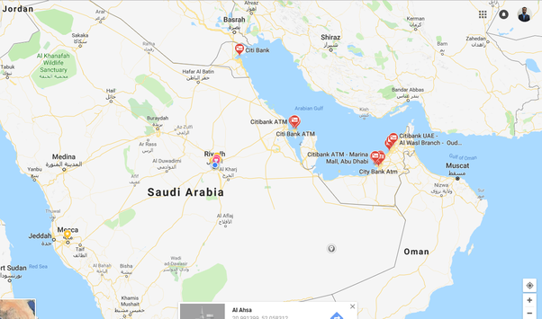 Is there a Citibank in Saudi Arabia? - Quora on coca-cola map, nike map, united airlines map, home depot map, bb&t map, citigroup branches map, everbank map,