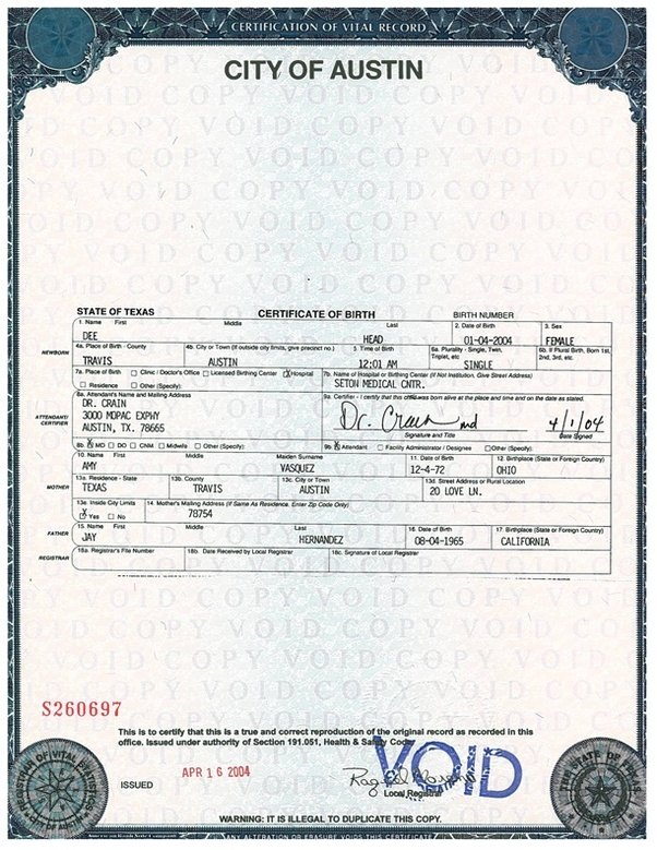 what does a texas birth certificate look like? - quora