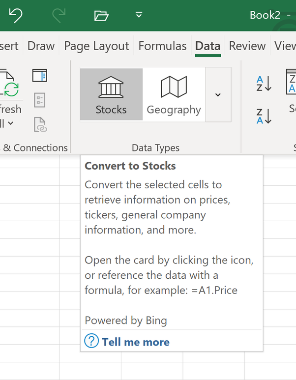 How to link the real-time data in Yahoo Finance to an Excel