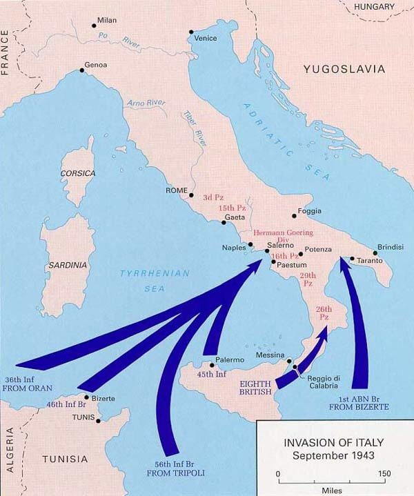 Who was the dominant allied force in italy during ww2 quora map of the allied invasion of italy gumiabroncs Images