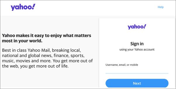 Yahoo mail alternate login