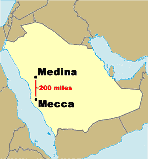 Middle east map mecca