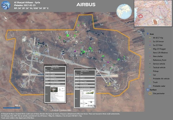 In the US missile attack on the Shayrat airbase in Syria