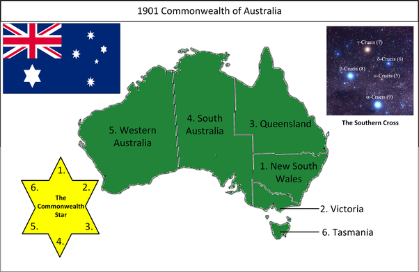 Map Of Australia 1901.Why Do The Stars On The Australian Flag Have 7 Points Quora